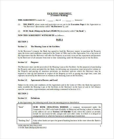 facility agreement form in word format