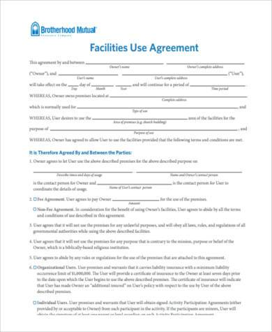 facility use agreement form