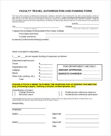 faculty travel authorization form