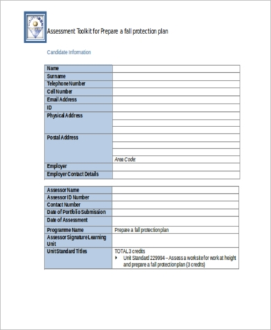 fall protection risk assessment form