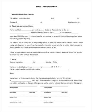 family child care contract