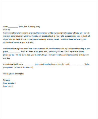 Sample Farewell Letter to Colleague 5 Free Documents in Word PDF
