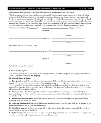 farm equipment lease agreement
