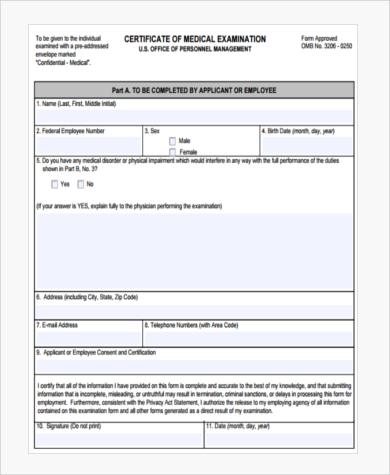 federal medical certification form