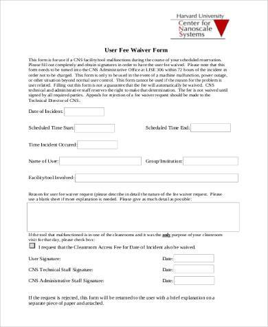 fee waiver form in pdf