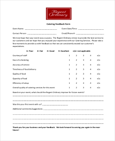 feedback form for catering food