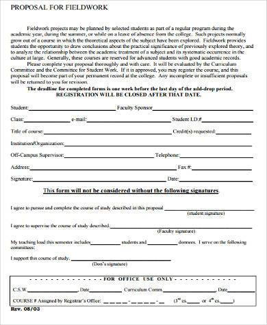 field work proposal form