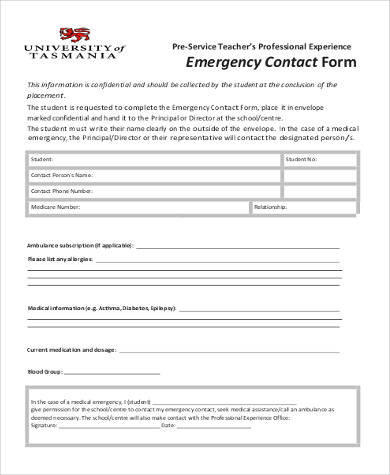 fillable emergency contact form