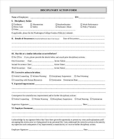 fillable employee disciplinary action form