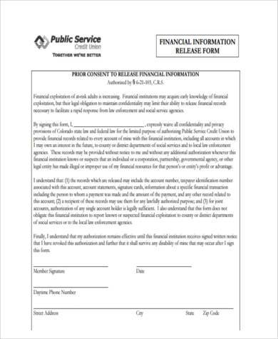 Sample Financial Information Release Forms   Free Documents In