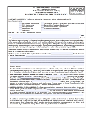 Sample Contract For Deed Forms 8 Free Documents In Word Pdf
