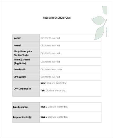 fillable preventive action form