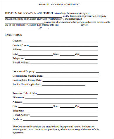 film location release agreement form