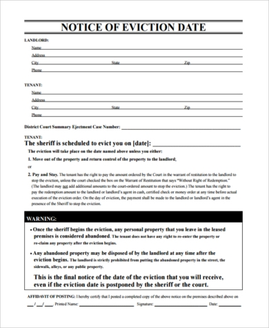 Sample Eviction Notice   Free Documents In Pdf