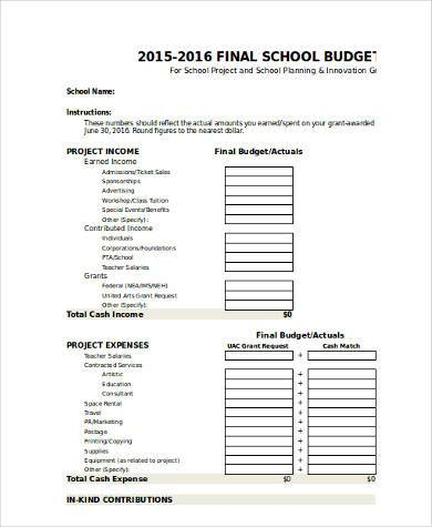 final school budget form