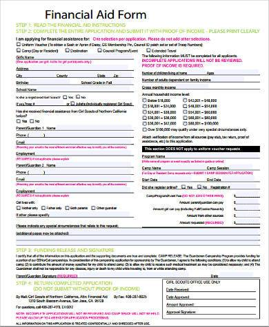 financial aid assistance form in pdf