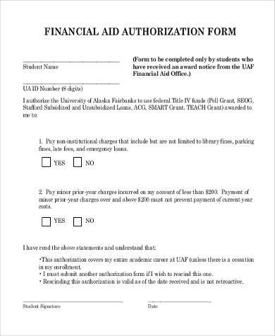 financial aid authorization form