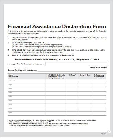 Sample Financial Assistance Forms   Free Documents In Word Pdf