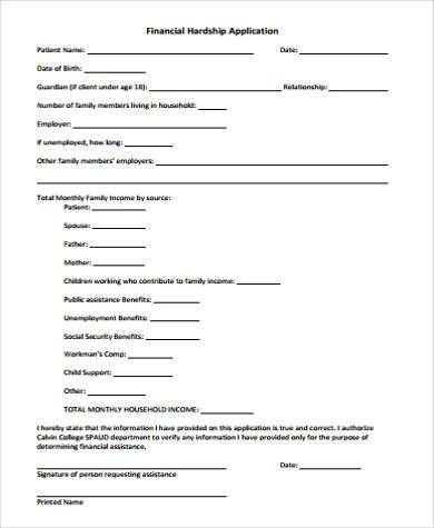 Sample Financial Hardship Forms - 9+ Free Documents in Word, PDF