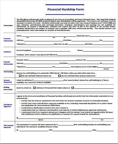 financial hardship form in pdf