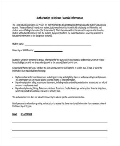 financial information release authorization form