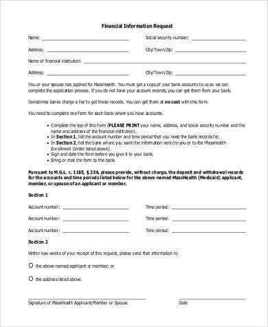financial information request form