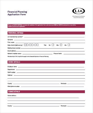 financial planning application form