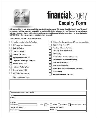 financial planning enquiry form