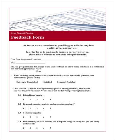financial planning feedback form