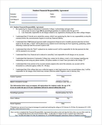 financial responsibility agreement form