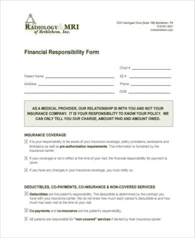 financial responsibility form in pdf