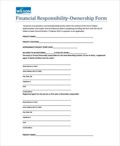 financial responsibility ownership form