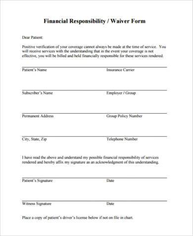 financial responsibility waiver form
