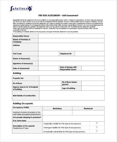 fire construction risk assessment form