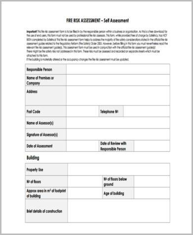 fire risk assessment review form