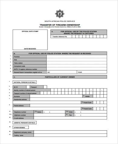 firearm ownership transfer form