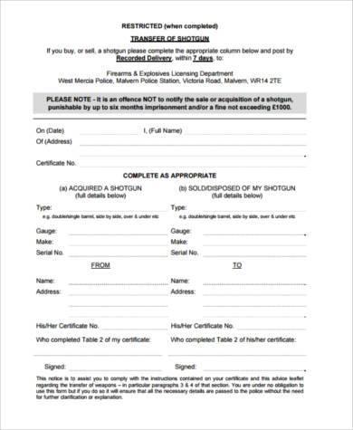 firearm transfer form example