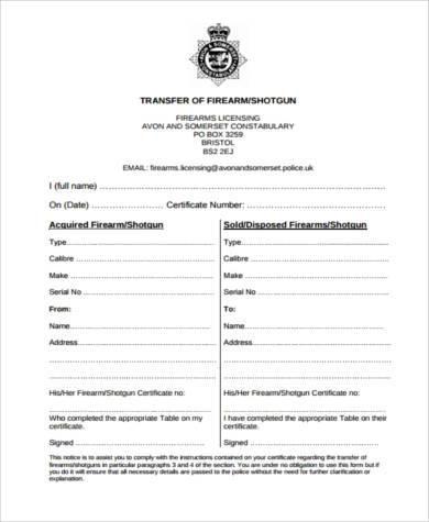 firearm transfer form sample