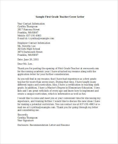 Teacher Cover Letter For Resume from images.sampleforms.com