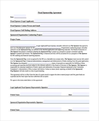 fiscal sponsorship agreement form
