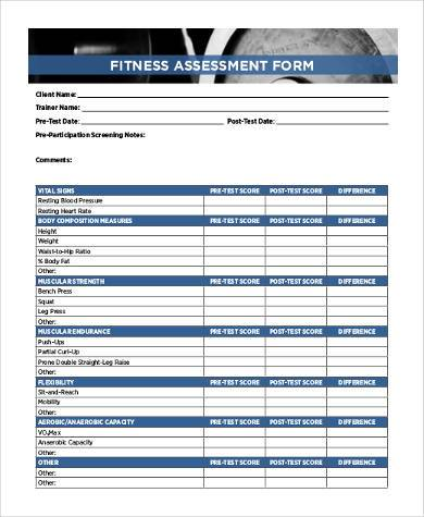 fitness assessment form sample