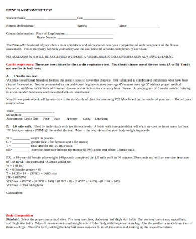 fitness assessment test form