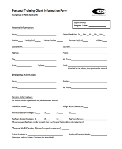 Sample fitness assessment forms 9 free documents in pdf for Client analysis template