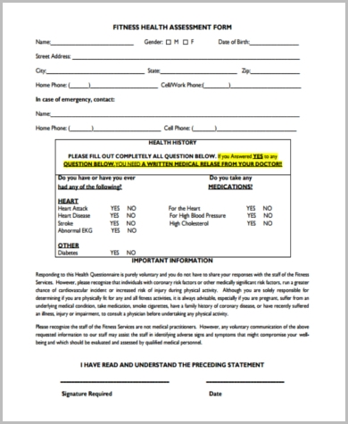 Sample Fitness Assessment Forms   Free Documents In Pdf