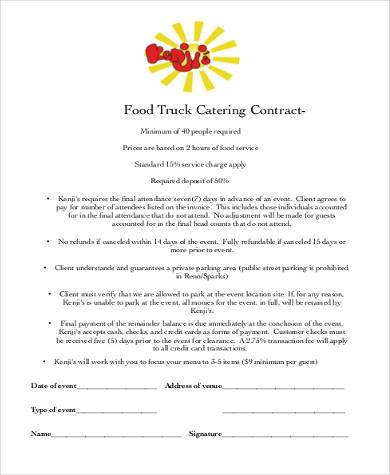 Catering Contract Form Samples 8 Free Documents In Word Pdf
