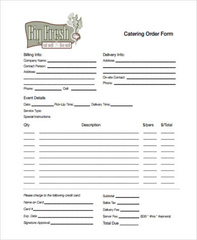 food catering order form