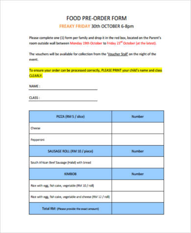 food pre order form template - sample food order forms 8 free documents in pdf