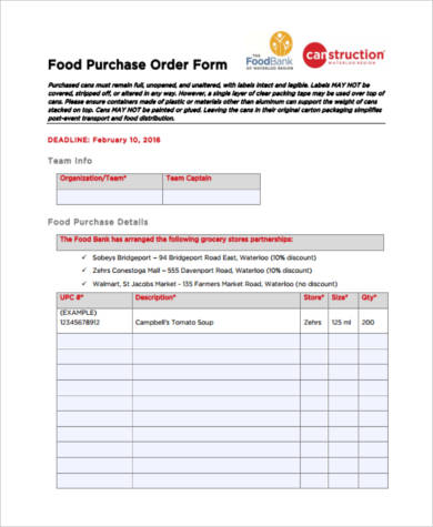 Sample Food Order Forms   Free Documents In Pdf