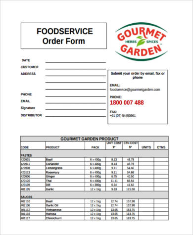Food Order Form Template from images.sampleforms.com