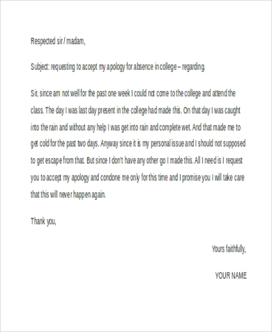 formal absent letter for college1
